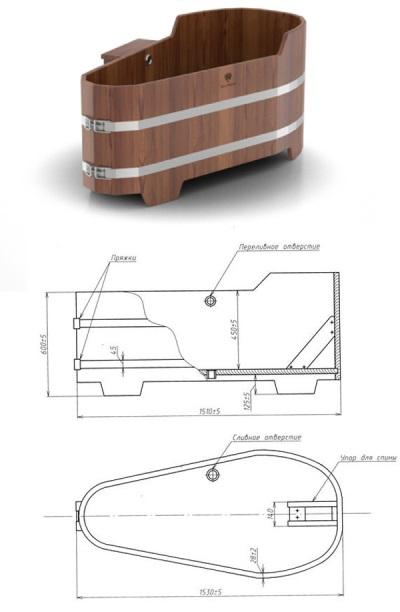 Ванна из лиственницы - размеры и характеристики