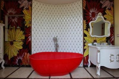 Различная плитка для создания ванной комнаты в восточном стиле
