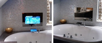Зеркало с телевизором в ванной
