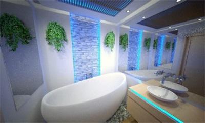 Установленная квариловая ванна
