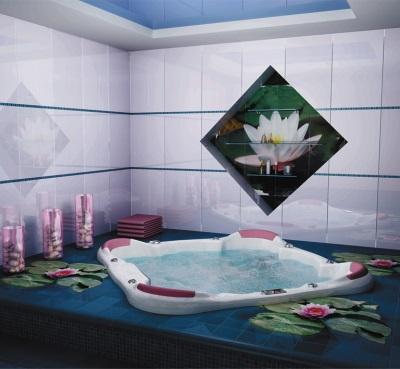 Фотопанно в ванной на плитке разного размера