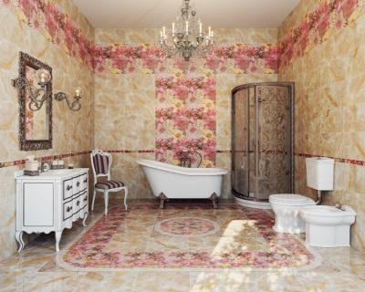Панно из кафельной плитки в ванной комнате