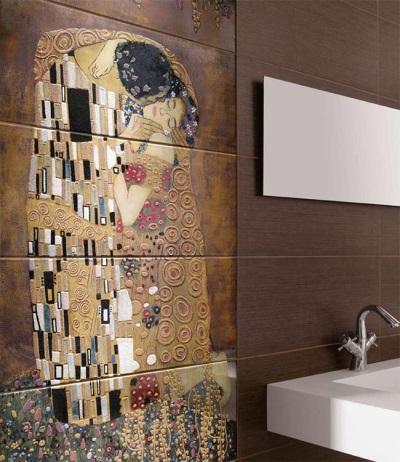 Панно в ванной комнате из керамогранита