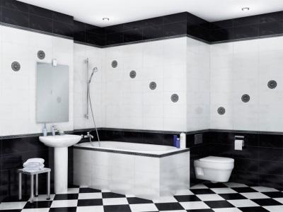 Шахматная раскладка плитки в ванной