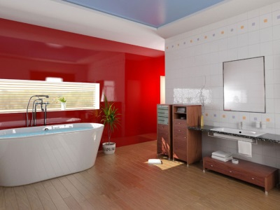 Глянцевая плитка в ванной и цветовые акценты