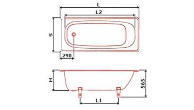 Размеры стальных ванн