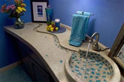 Столешница для ванной с монолитной раковиной