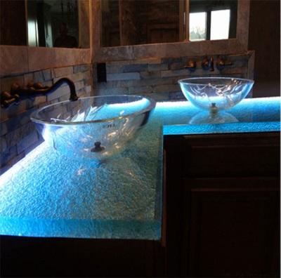 Стеклянная столешница для ванной с подсветкой