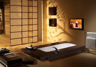Телевизор в ванной в японском стиле