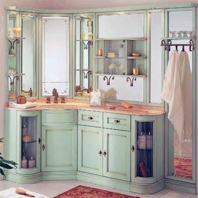 Мебель для большой ванной комнаты с угловым умывальником