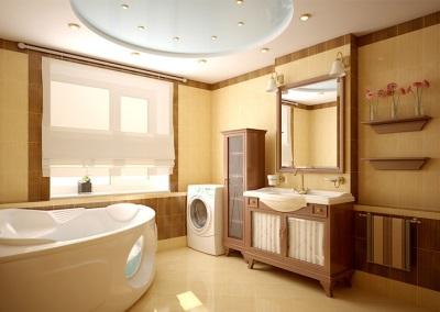 Потолок в деревянной ванной