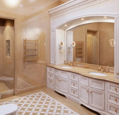 Светлая ванная в классическом стиле в деревянном доме