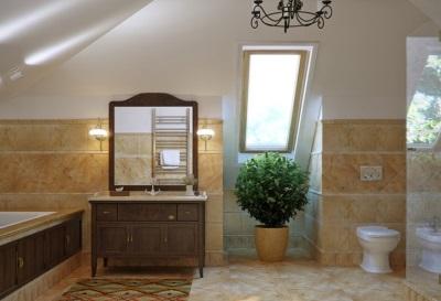 Ванная в стиле кантри в деревянном доме