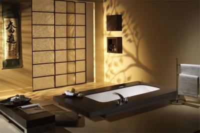 Ванная в японском стиле в деревянном доме