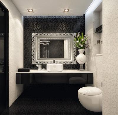 Предметы интерьера в черно-белой ванной