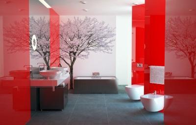 Бело-красная ванная с черным