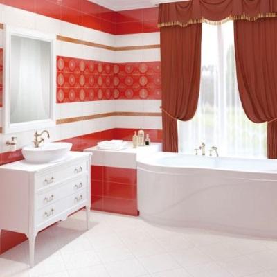 Красная плитка в стиле класик