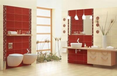 Плитка красного цвета в ванной