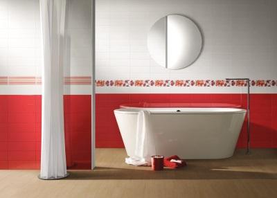 Красная плитка в дизайне ванной