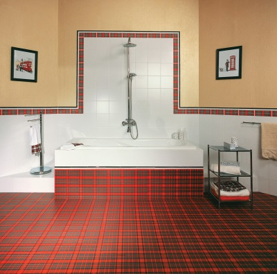 Красная плитка в шотландском стиле