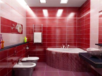 Ванна красна декорированная мозаикой