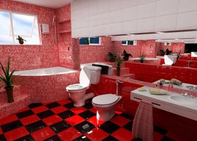Красная ванна облицованная мозаикой