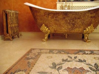 Мозаичные орнаменты для пола в ванной комнате