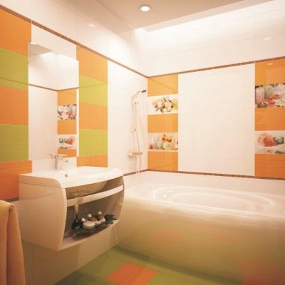 Оранжево-зеленая  с белым ванная комната