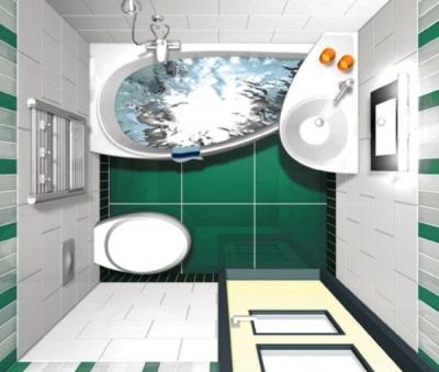 Вариант перепланировки в ванной