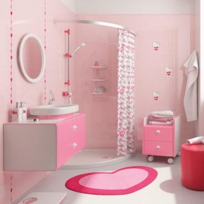 Розовый цвет в интерьере ванной