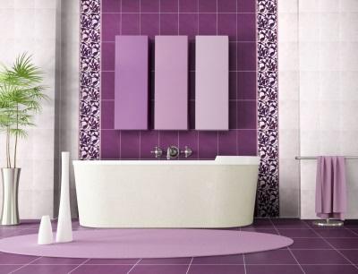 Сочетание розового с фиолетовым в ванной