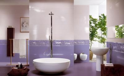 Красивая сиреневая ванная