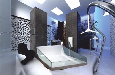 Акриловая ванна со стеклянными вставками