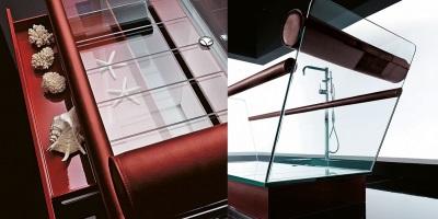 Ванна и раковина из стекла одной коллекции