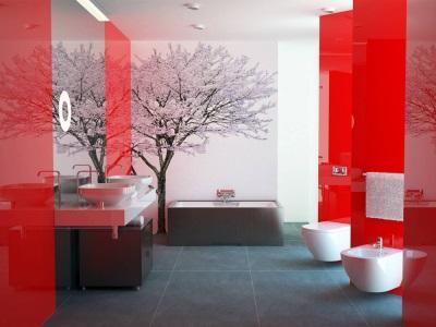Красивая современная ванная с плиткой