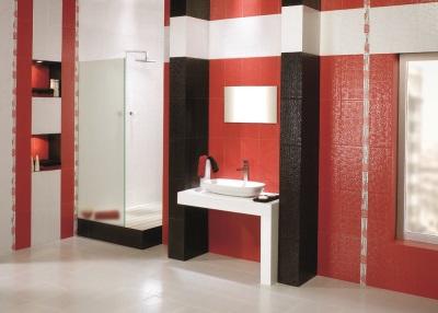 Черный в бело-красной ванной