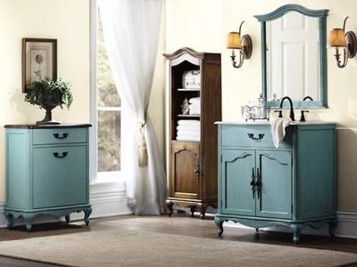 Бирюзовая мебель в ванной в стиле прованс
