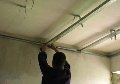 Монтаж металлоконстукций для потолка из гипсокартона