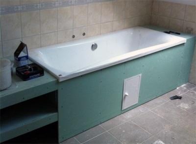 Экран для ванной из гисокартона