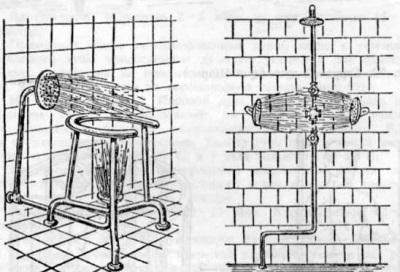 Восходящий комбинированный душ с насадкой на крестцово-поясничную и воротниковую области