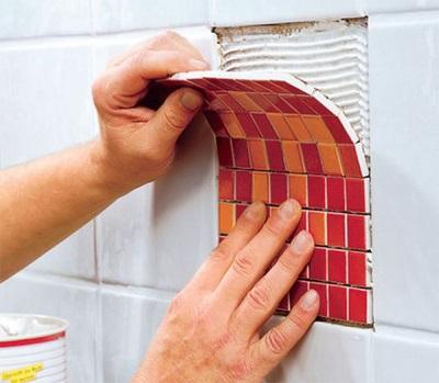 Замена одной плитки мозаикой