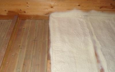 Теплый пол ванной с напылением пенополиуретана