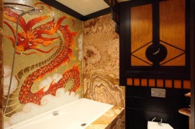 Китайские мотивы в интерьере ванной комнаты