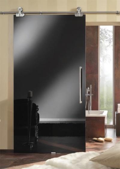 Дверь для ванны из черного стекла