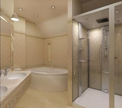 Душевая кабинка в модной ванной комнате