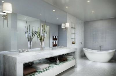 Модная ванная комната в сером цвете