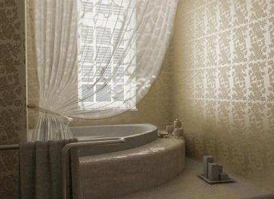 Красивая встроенная ванна с подиумом