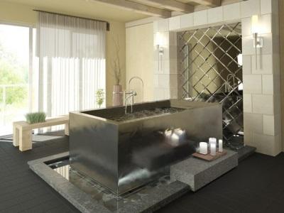 Оформление модной ванной в стиле хай-тек