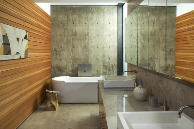 Стеновые панели из дерева в ванной