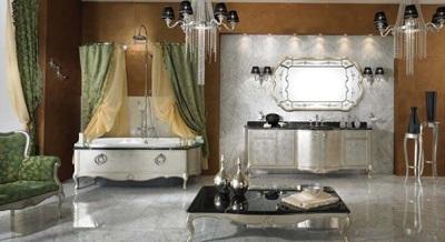 Просторная ванная комната в стиле барокко